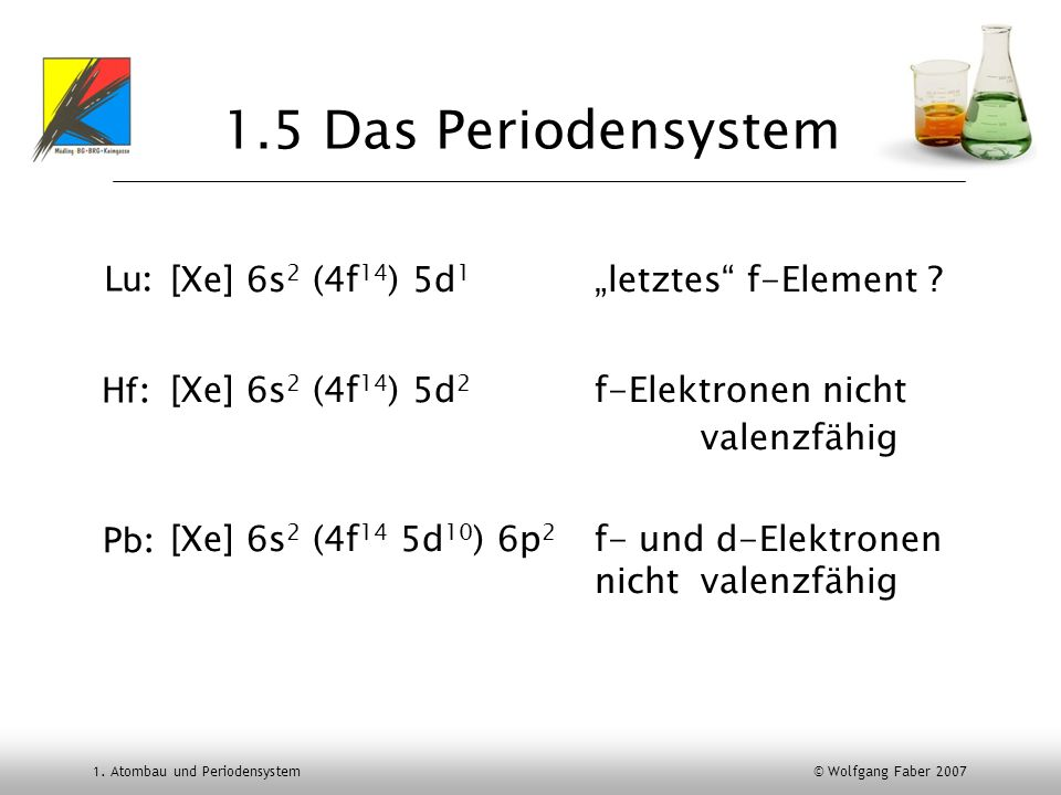 "1.5 Das Periodensystem [Xe] 6s2 (4f14) 5d1 ""letztes f-Element Lu:"